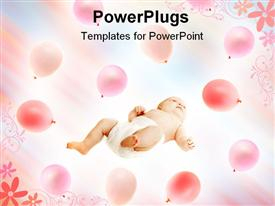 Baby in pink balloons template for powerpoint
