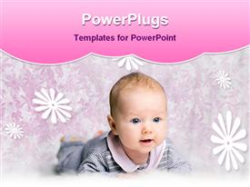PowerPoint template displaying baby is playing