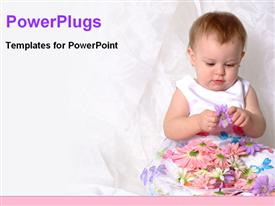 PowerPoint template displaying baby playing with flowers