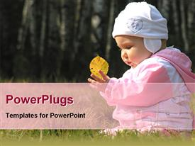 PowerPoint template displaying baby playing in garden