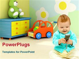 PowerPoint template displaying baby playing with toys