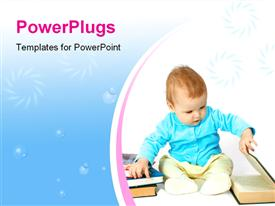 PowerPoint template displaying baby read the book