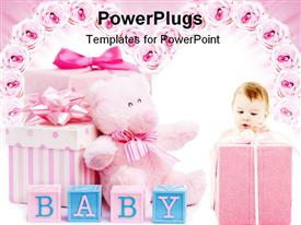 PowerPoint template displaying baby shower gifts for a little girl