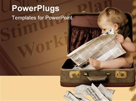 PowerPoint template displaying baby sits in suitcase, reads newspaper
