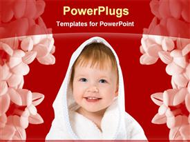 PowerPoint template displaying baby smiling in a floral background