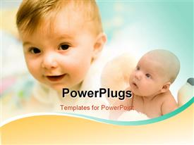 PowerPoint template displaying two children in young age with bluish background