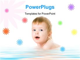 PowerPoint template displaying baby in towel