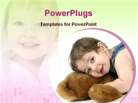 PowerPoint template displaying baby with toy