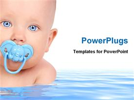 PowerPoint template displaying baby in water