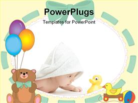 PowerPoint template displaying baby wrapped in a towel looking at its toy duck