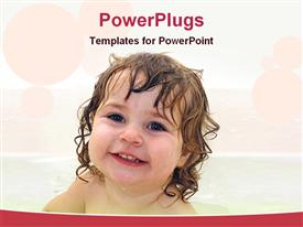 PowerPoint template displaying bath face of a baby girl