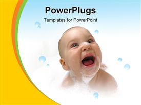 PowerPoint template displaying bathing Baby