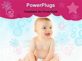 PowerPoint template displaying beautiful baby boy laughing on a white silk background