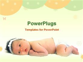 PowerPoint template displaying beautiful baby girl