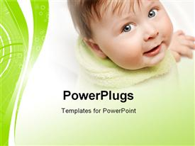 PowerPoint template displaying a close up view of a smiling cute baby