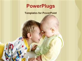 PowerPoint template displaying child playing with a baby