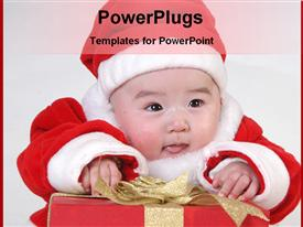PowerPoint template displaying christmas baby with gift
