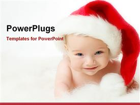 PowerPoint template displaying christmas baby smiling