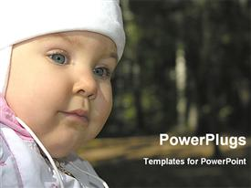 PowerPoint template displaying close view of a cute baby face