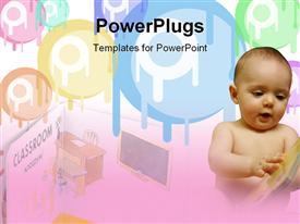 PowerPoint template displaying curious little boy reading a story book, Little book. For children in the background.