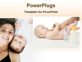 PowerPoint template displaying cute babies with mother