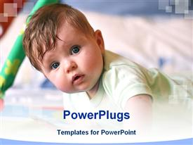 PowerPoint template displaying cute baby in his bed