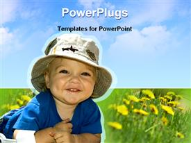 PowerPoint template displaying cute baby in a garden under the sky