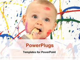 PowerPoint template displaying cute baby playing with colors