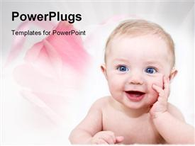 PowerPoint template displaying happy baby with pink roses for family on white background