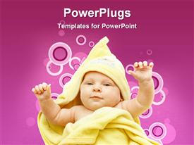 PowerPoint template displaying cute baby depiction showing after her bath