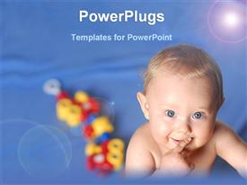 PowerPoint template displaying cute baby with toys