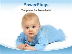 PowerPoint template displaying cute baby wearing blue dress