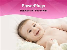 PowerPoint template displaying very cute happy baby