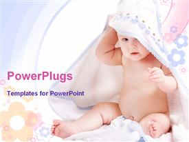 PowerPoint template displaying cute six month baby