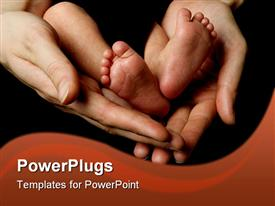 PowerPoint template displaying feet of a 11 days young baby
