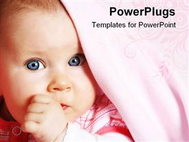 PowerPoint template displaying five months old baby girl with blue eyes under soft blanket with thumb in her mouth