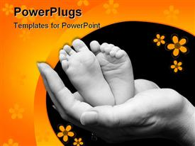 PowerPoint template displaying five week old baby feet held in mothers hand