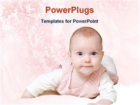 PowerPoint template displaying small baby boy smiling happily on a pink background