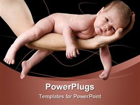 PowerPoint template displaying four weeks old baby on a arm. Studio depiction