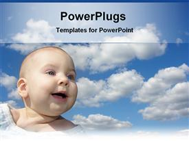 PowerPoint template displaying happy baby under cloud