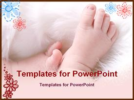 PowerPoint template displaying infant baby feet on a white furry blanket