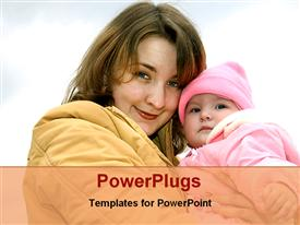 PowerPoint template displaying mom with her baby