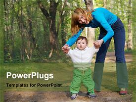 PowerPoint template displaying mother and her child standing happily in the woods