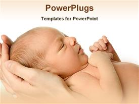 PowerPoint template displaying newborn baby in mother's hand