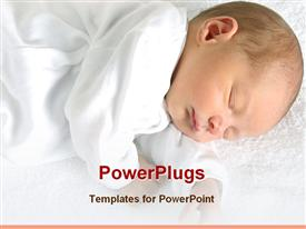 PowerPoint template displaying newborn baby is sleeping