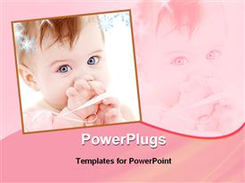 PowerPoint template displaying pretty baby