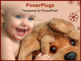 PowerPoint template displaying cute little baby playing with big dog teddy bear