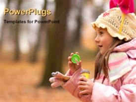 PowerPoint template displaying a small girl in pink on a blurry tree background