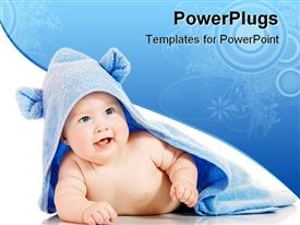 PowerPoint template displaying small smiling baby with a towel