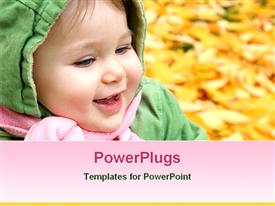PowerPoint template displaying smiling baby at a park in autumn